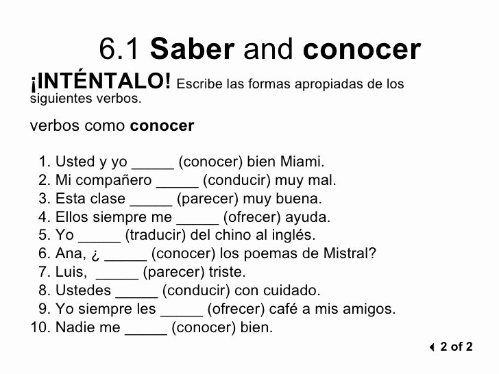 Saber Vs Conocer Worksheet Awesome 6 1 Saber and Conocer