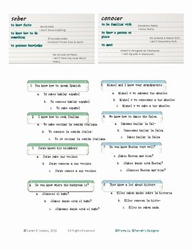 Saber Vs Conocer Worksheet Fresh Saber Vs Conocer Practice Worksheet with Teacher Key