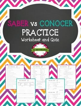 Saber Vs Conocer Worksheet Lovely 10 Best Images About Spanish Learning On Pinterest