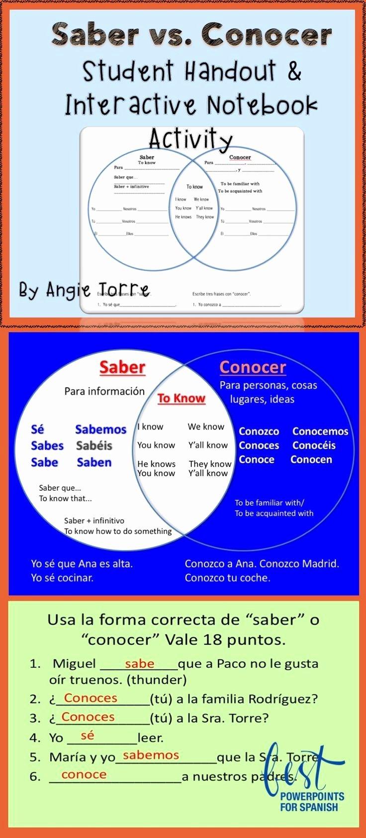 Saber Vs Conocer Worksheet Lovely 1000 Ideas About Venn Diagrams On Pinterest