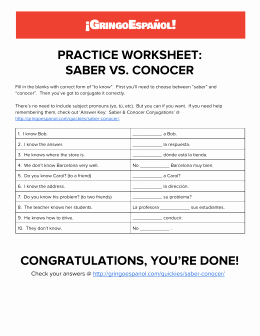 Saber Vs Conocer Worksheet Lovely Saber Vs Conocer Spanish4teachers