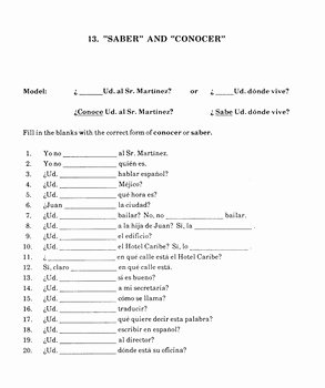 Saber Vs Conocer Worksheet New Spanish 1 Spanish 2 Class Worksheet Grammar Saber and