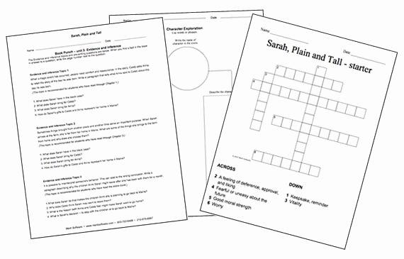 Sarah Plain and Tall Worksheet Best Of Sarah Plain and Tall Activities School Work