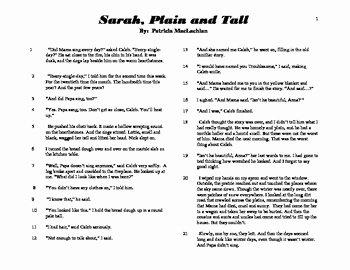 """Sarah Plain and Tall Worksheet Fresh Close Read Mon Core Aligned """"sarah Plain and Tall"""