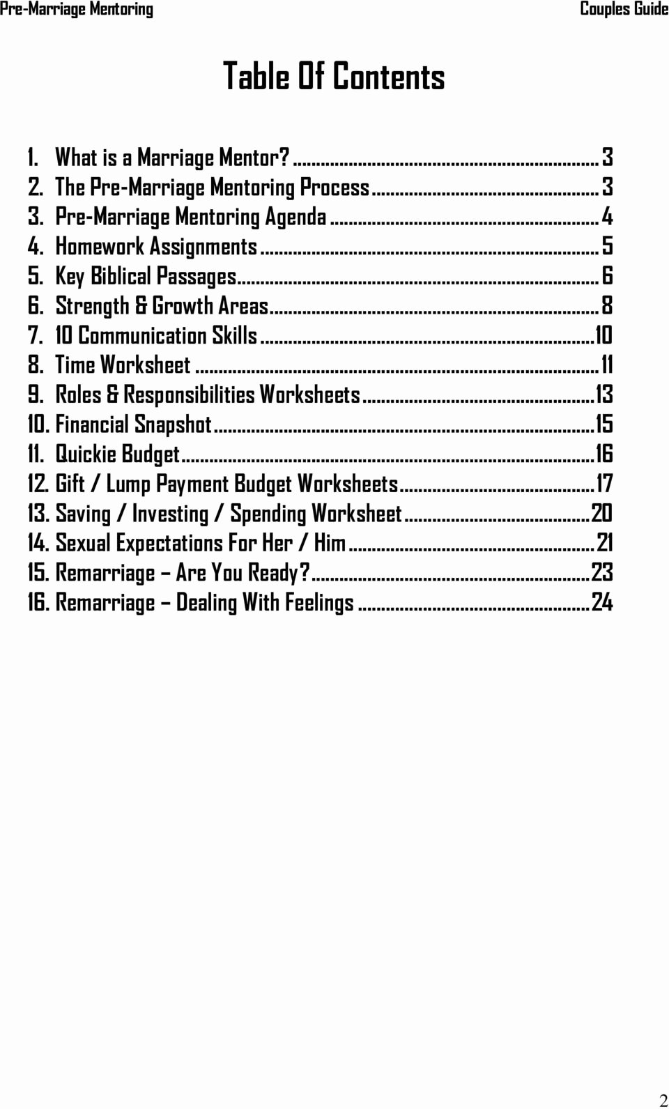 Saving and Investing Worksheet Beautiful Pre Marriage Mentoring Couples Guide A Ministry Of