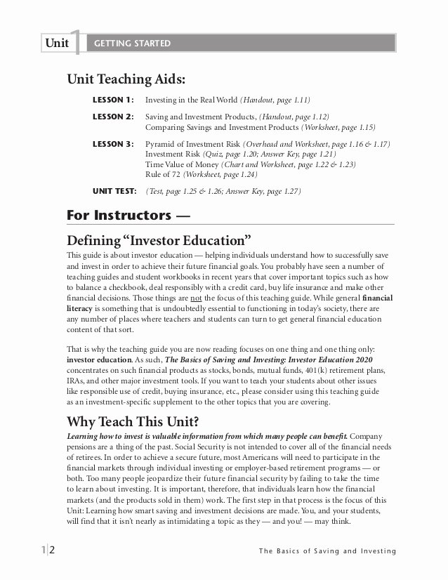 Saving and Investing Worksheet Inspirational Basics Of Saving and Investing