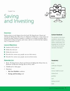Saving and Investing Worksheet Lovely Saving and Investing Lesson Plan for 5th Grade