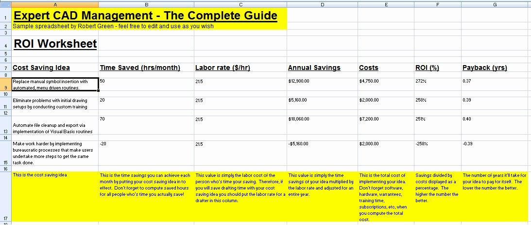 Saving and Investing Worksheet Unique Cad Roi Worksheet