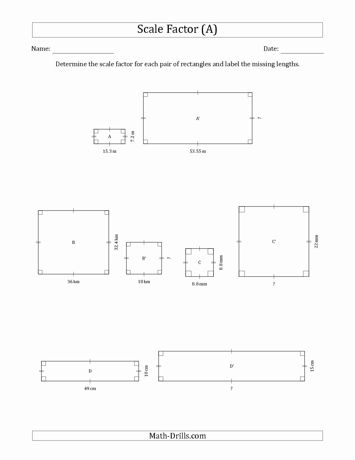 Scale Drawings Worksheet 7th Grade Inspirational the Determine the Scale Factor Between Two Rectangles and
