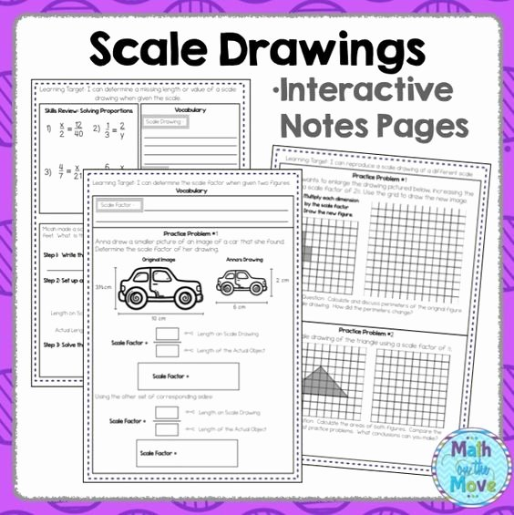 Scale Drawings Worksheet 7th Grade Lovely Scale Drawings Notes and Practice 7 G 1