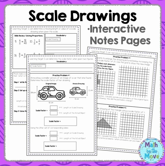 Scale Drawings Worksheet 7th Grade New Scale Drawings Notes and Practice 7 G 1