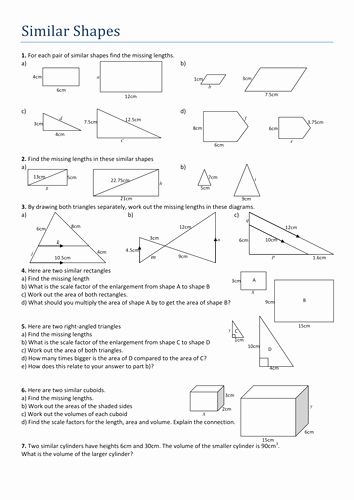 Scale Factor Worksheet with Answers Beautiful Similar Shapes Worksheet by Tristanjones