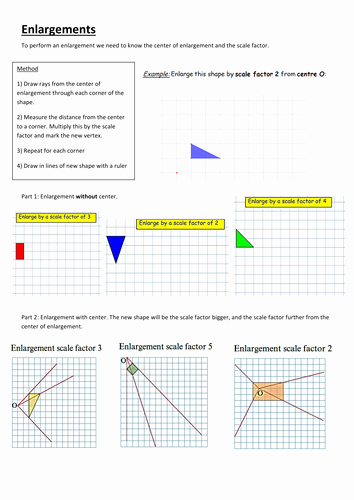 Scale Factor Worksheet with Answers Fresh Enlargements Negative and Fractional Scale Factor by