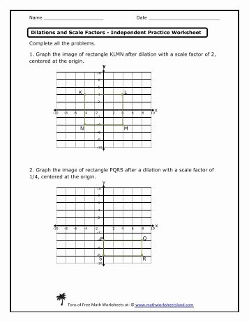 Scale Factor Worksheet with Answers Unique Dilations and Scale Factors Lesson Math Worksheets Land