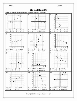 Scatter Plot Practice Worksheet Fresh Scatter Plots and Line Of Best Fit Worksheet 2 by Algebra