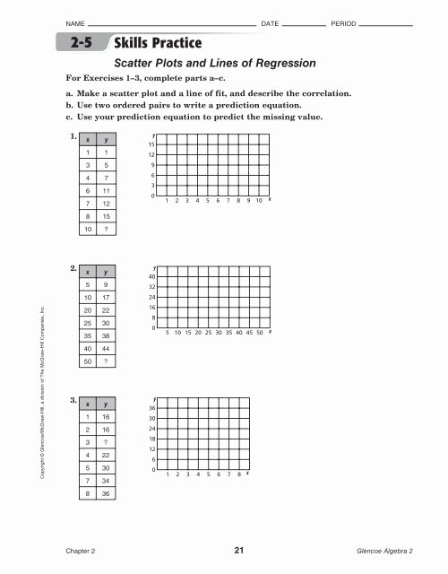 Scatter Plot Practice Worksheet Unique Scatterplots and Line Of Best Fit Worksheet 7 Pdf