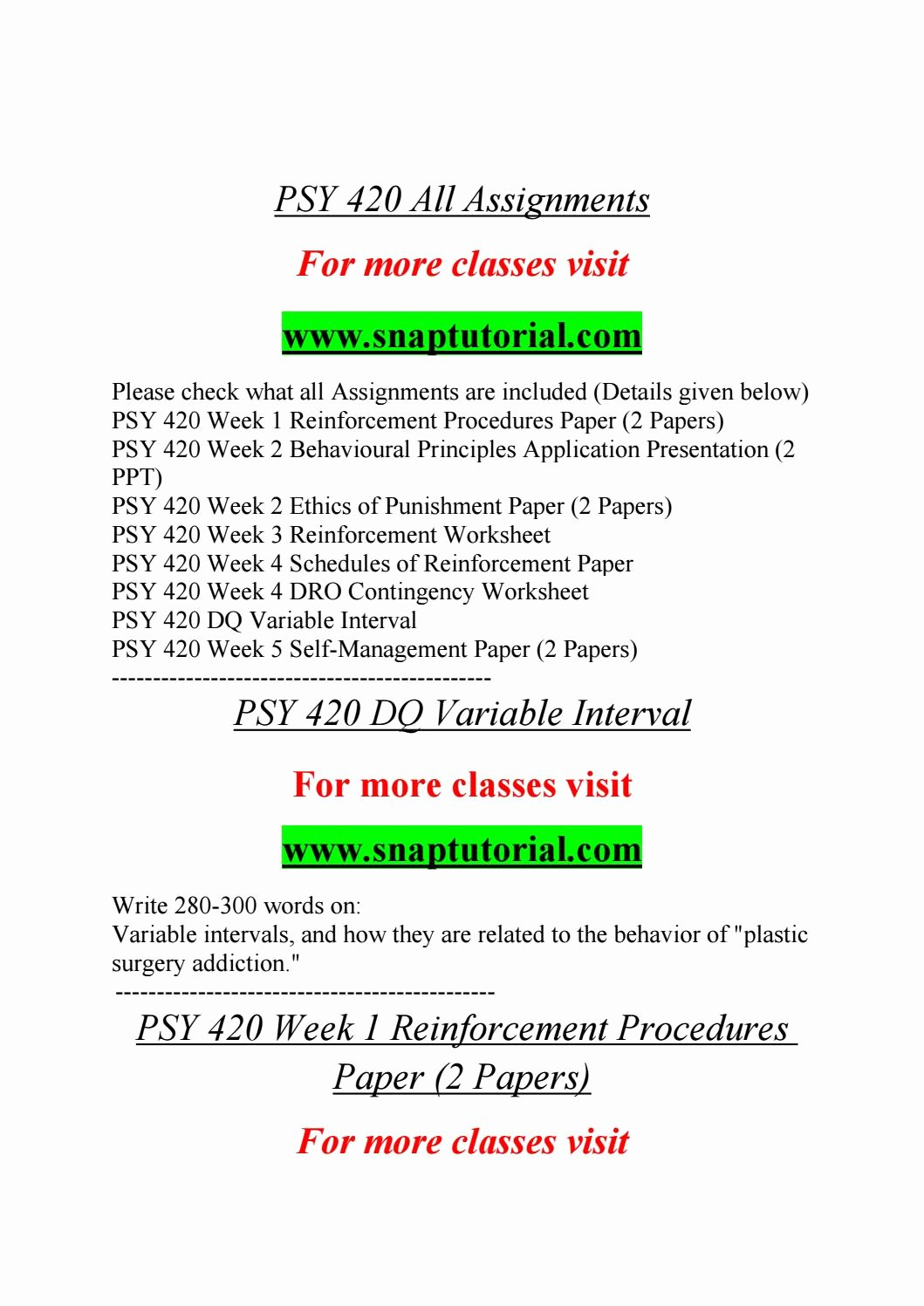 Schedules Of Reinforcement Worksheet Awesome Psy 420 All assignments by Flwr01 issuu