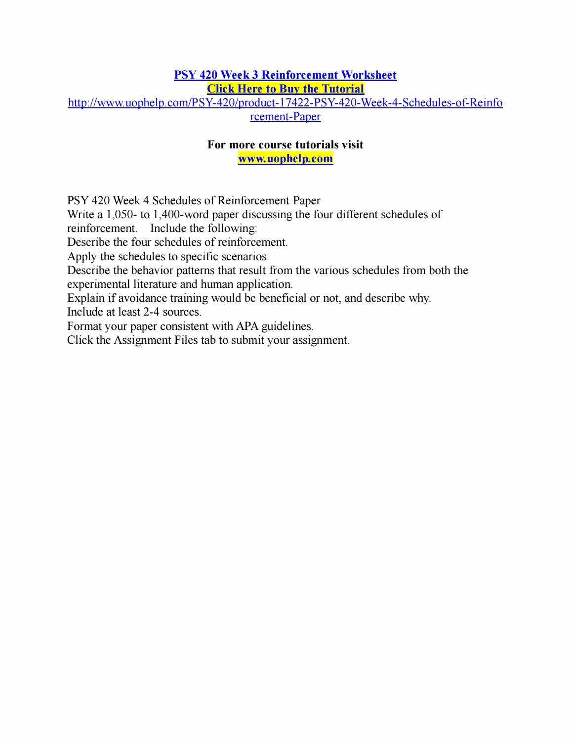 Schedules Of Reinforcement Worksheet Lovely Psy 420 Week 3 Reinforcement Worksheet by Pinck101 issuu