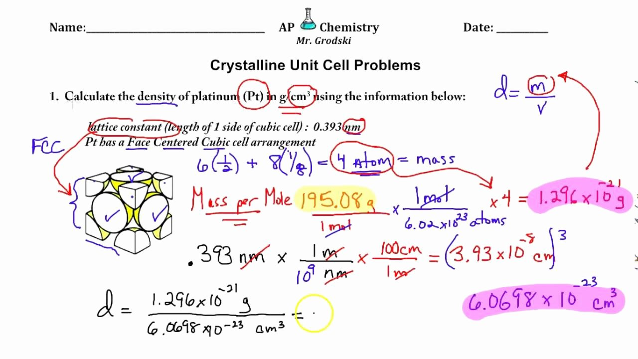Science 8 Density Calculations Worksheet Beautiful Unit Cell Calculations Worksheet Review Youtube Science 8