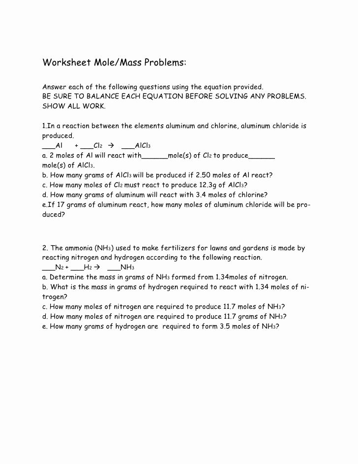 Science 8 Density Calculations Worksheet Inspirational Moles and Mass Worksheet