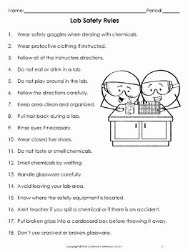 Science Lab Safety Worksheet New Lab Safety Rules Contract and Equipment Worksheets by
