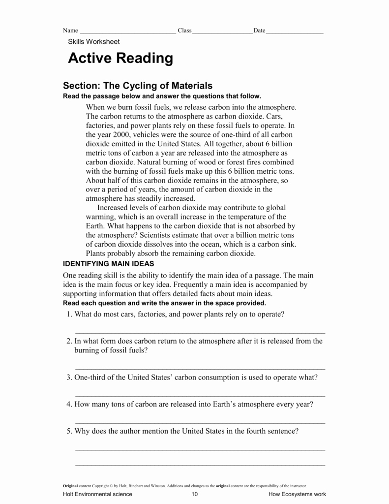 Science Skills Worksheet Answer Key Inspirational Holt Environmental Science Skills Worksheet Active Reading