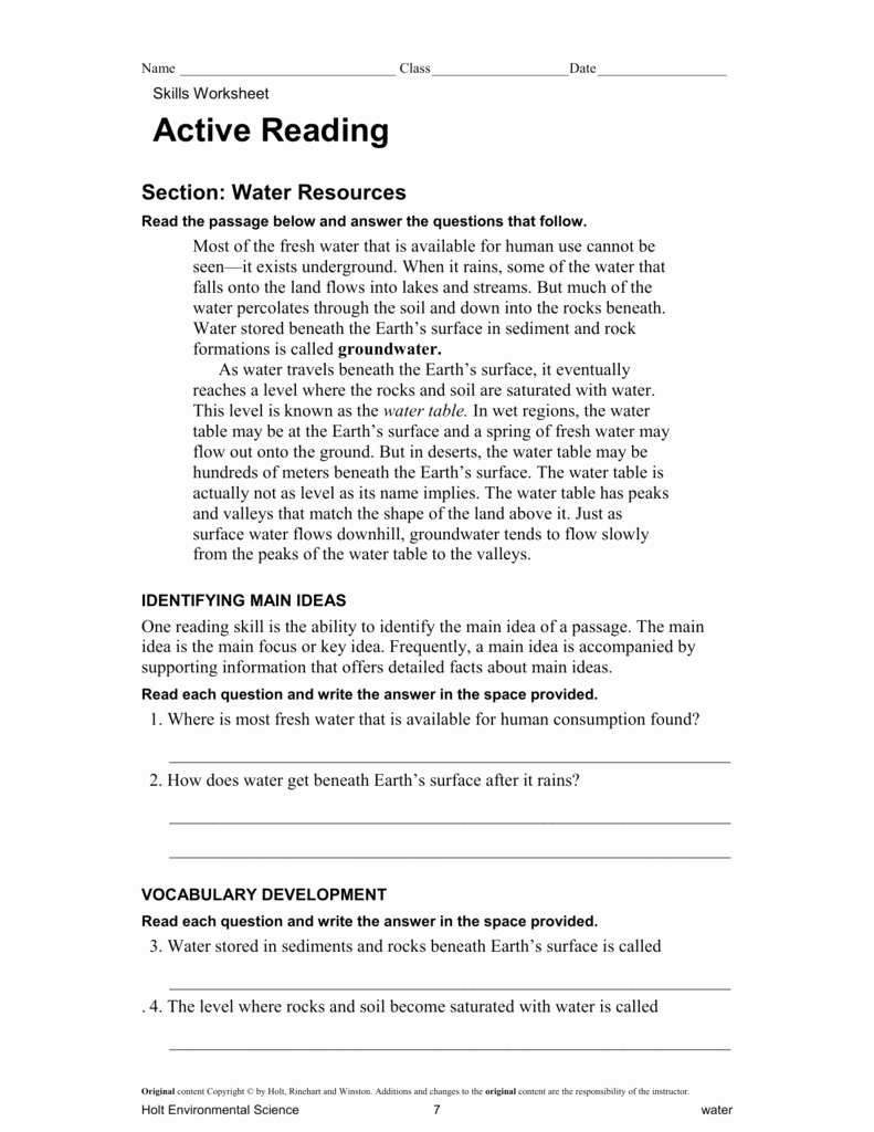 Science Skills Worksheet Answer Key Lovely Holt Environmental Science Skills Worksheet Active Reading