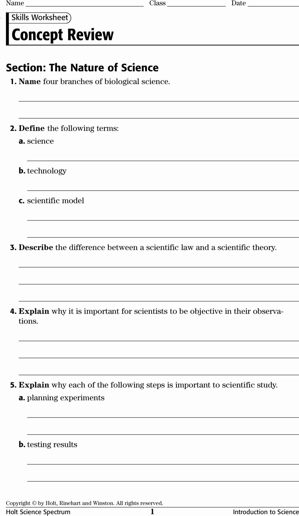 Science Skills Worksheet Answer Key Lovely Physical Science Concept Review Worksheets with Answer