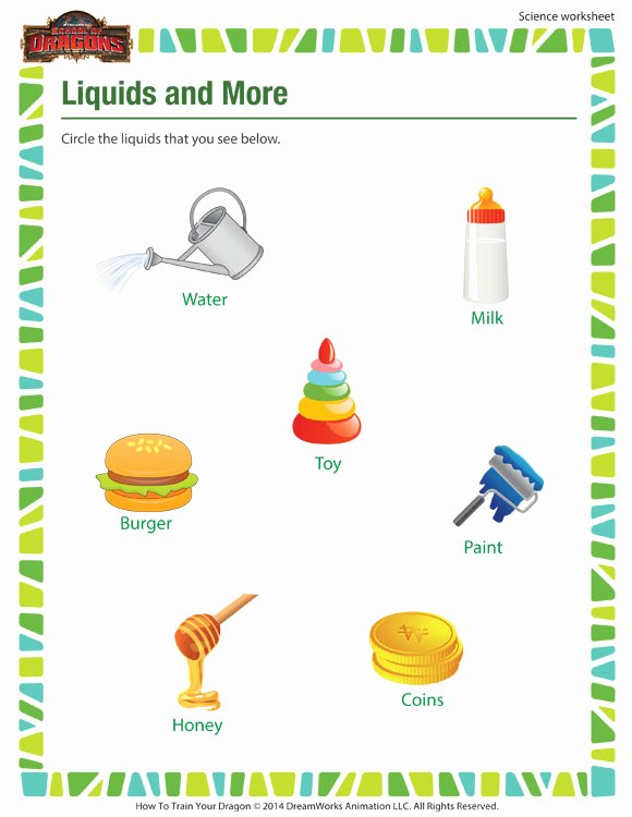 Science Worksheet for 1st Grade Awesome Liquids & More Worksheet 1st Grade Science Worksheet sod