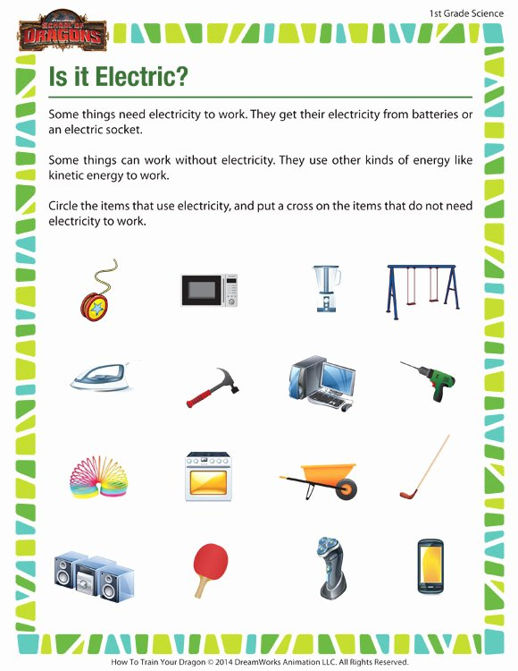 Science Worksheet for 1st Grade Beautiful is It Electric View – Free 1st Grade Science Worksheets – sod