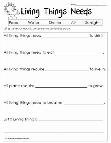 Science Worksheet for 1st Grade Inspirational Science Worksheets Living Vs Non Living