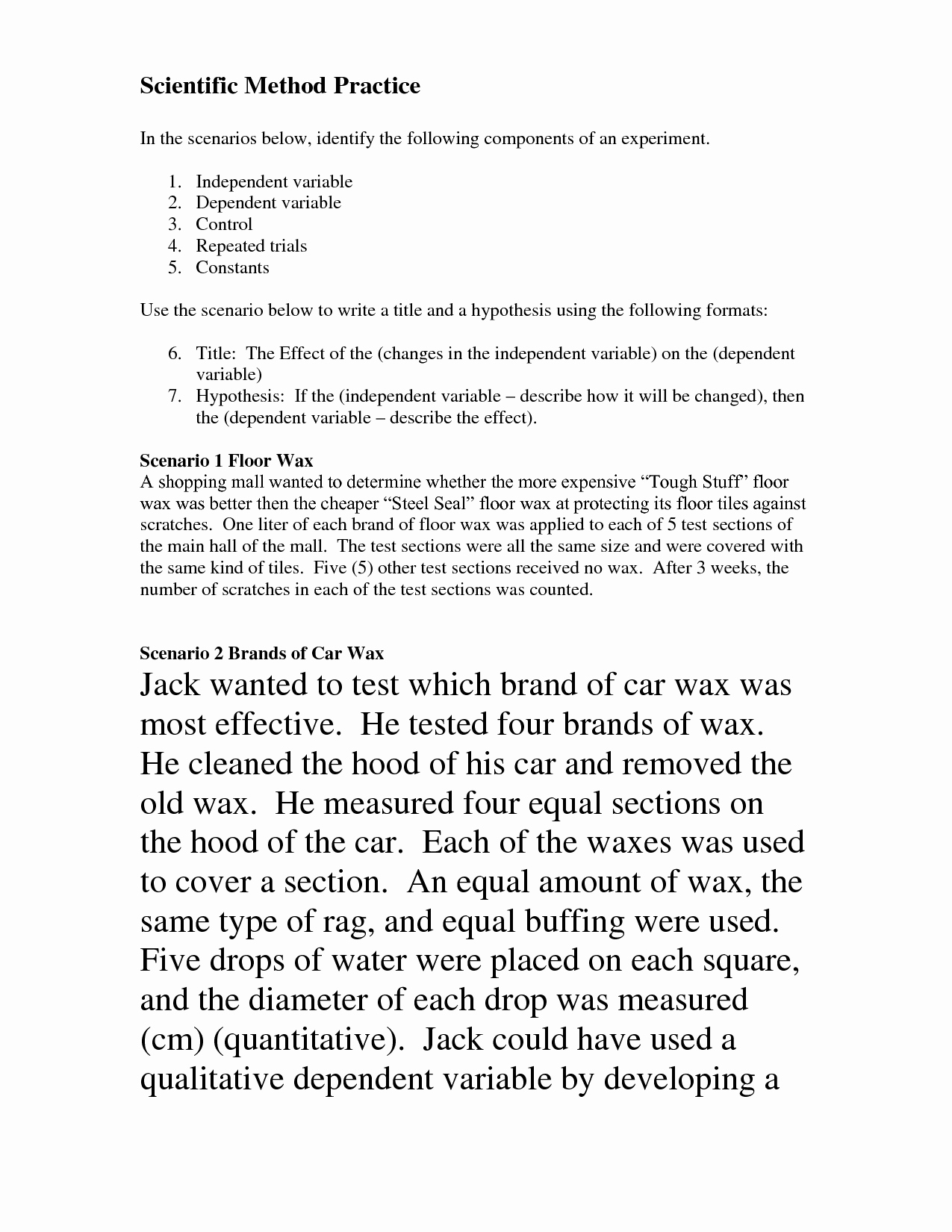 Scientific Method Examples Worksheet Beautiful Scientific Method Scenarios Worksheet
