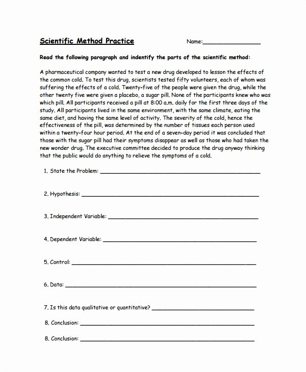 Scientific Method Examples Worksheet Fresh Sample Scientific Method Worksheet 8 Free Documents