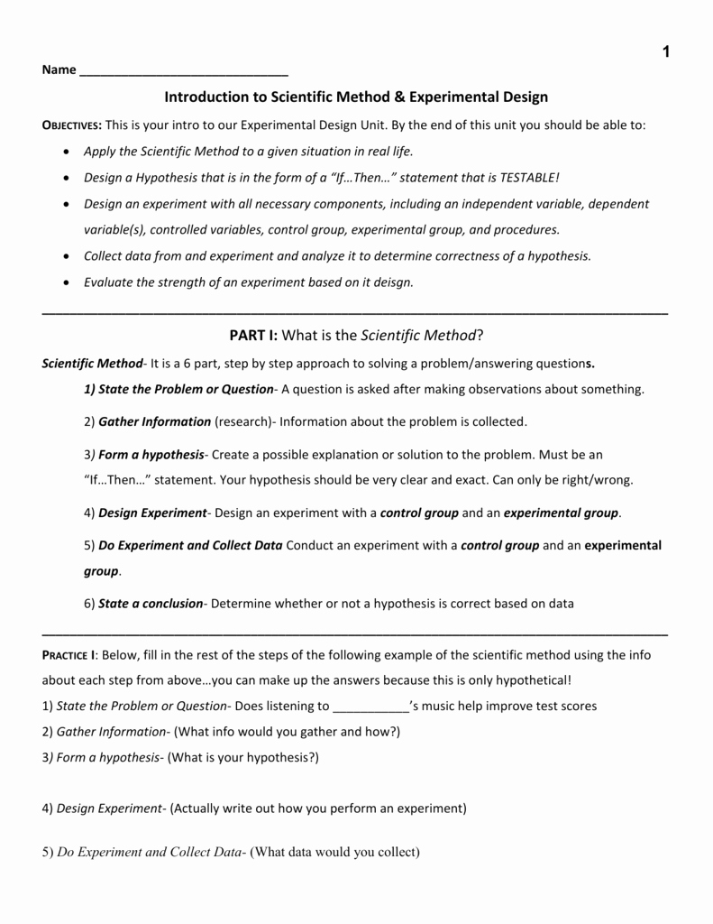 Scientific Method Examples Worksheet New Experimental Design Worksheet