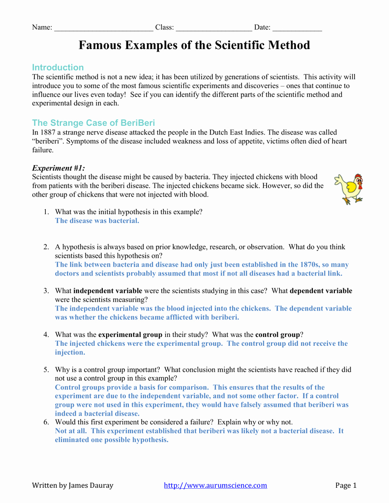Scientific Method Examples Worksheet New Introduction to the Scientific Method Worksheet