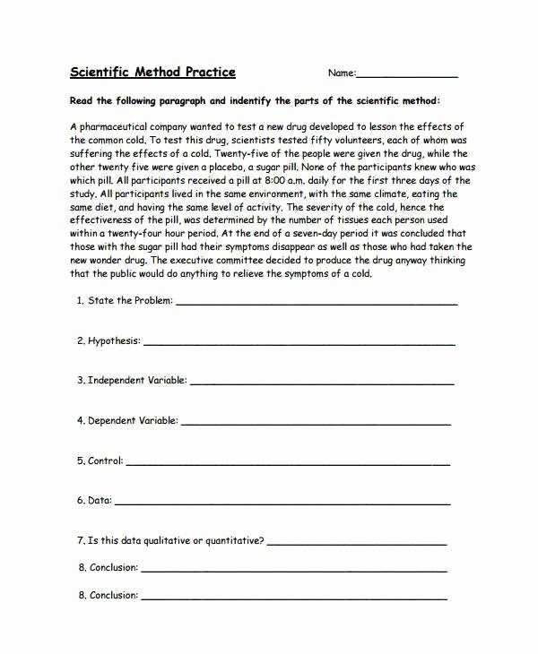Scientific Method Practice Worksheet Awesome Hypothesis Worksheet