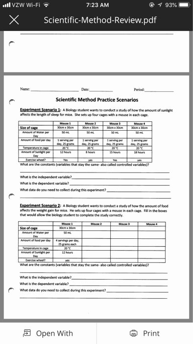 Scientific Method Practice Worksheet Awesome L Vzw Wi Fi 7 23 Am Xscientific Method Review