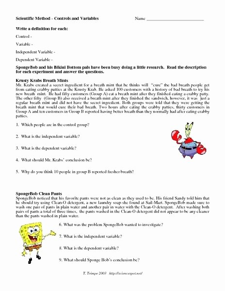 Scientific Method Practice Worksheet Unique Scientific Method Control and Variables Worksheet