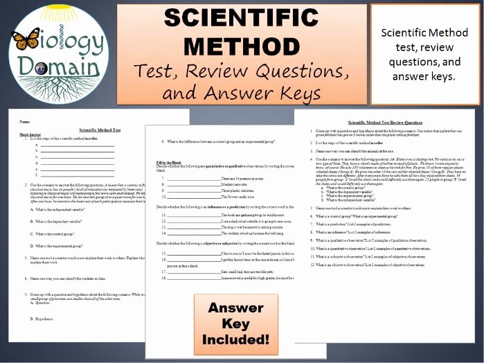 Scientific Method Review Worksheet Answers Inspirational Scientific Method Test Review Questions and Answer Keys
