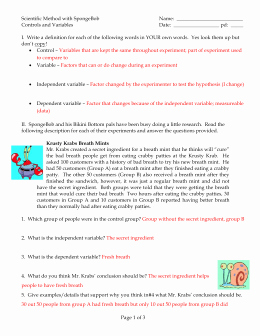 Scientific Method Review Worksheet Answers Unique 8 Sponge Bob Part2 Worksheet Answers
