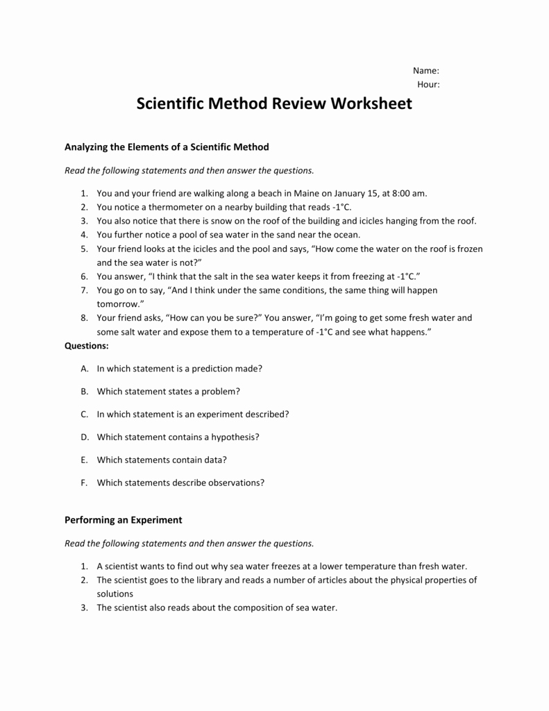 Scientific Method Review Worksheet Inspirational Scientific Method Review Worksheet