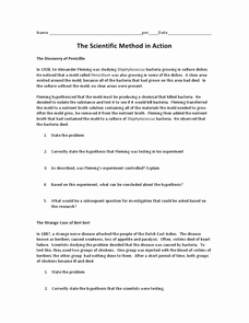 Scientific Method Review Worksheet Unique the Scientific Method In Action 7th 12th Grade Worksheet
