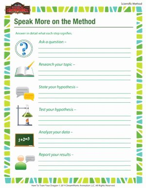 Scientific Method Steps Worksheet Beautiful Speak More On the Method – Science Resources for Kids – sod