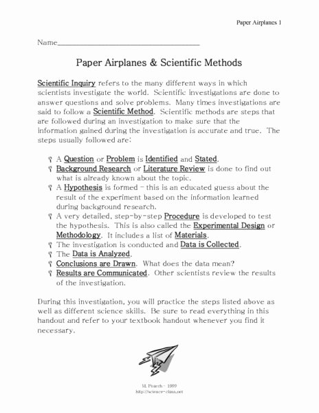 Scientific Method Story Worksheet Answers New Paper Airplanes and Scientific Methods 7th 9th Grade