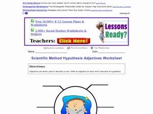 Scientific Method Worksheet 4th Grade Best Of Scientific Method Hypothesis Adjectives Worksheet 3rd