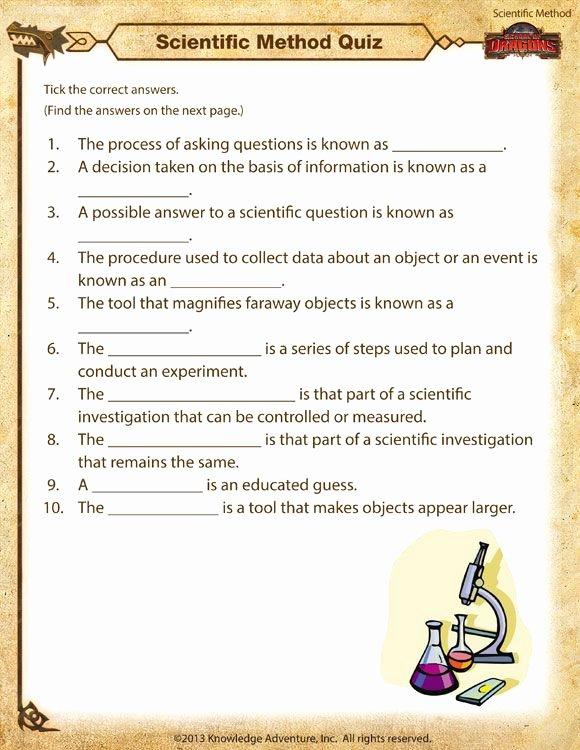 Scientific Method Worksheet 4th Grade Fresh Scientific Method Quiz Printable Scientific Method