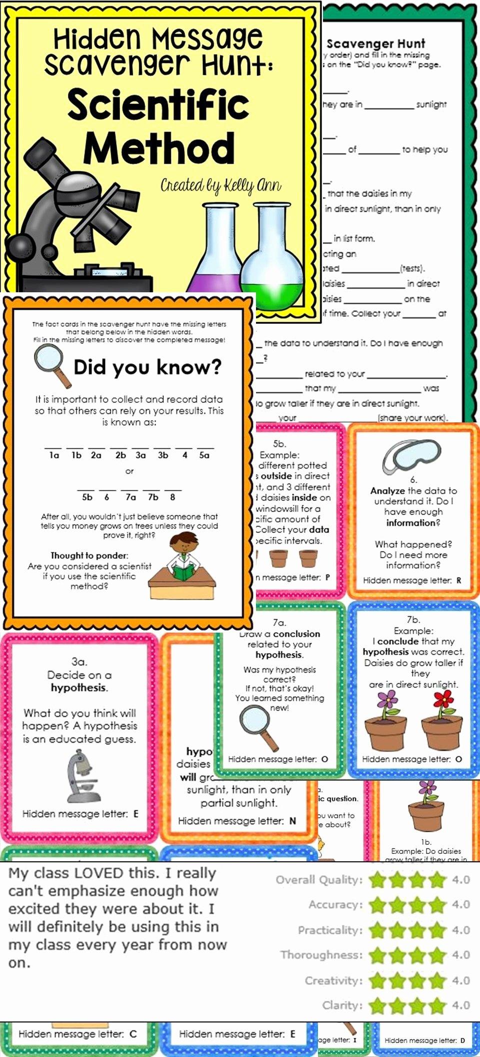 Scientific Method Worksheet 4th Grade Inspirational Scientific Method Activity Scavenger Hunt