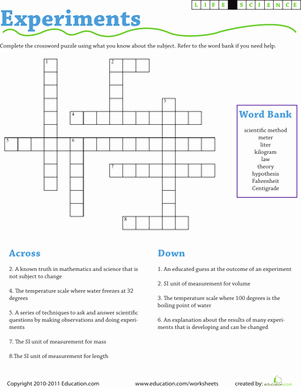 Scientific Method Worksheet 5th Grade Lovely Science Experiment Vocabulary Crossword