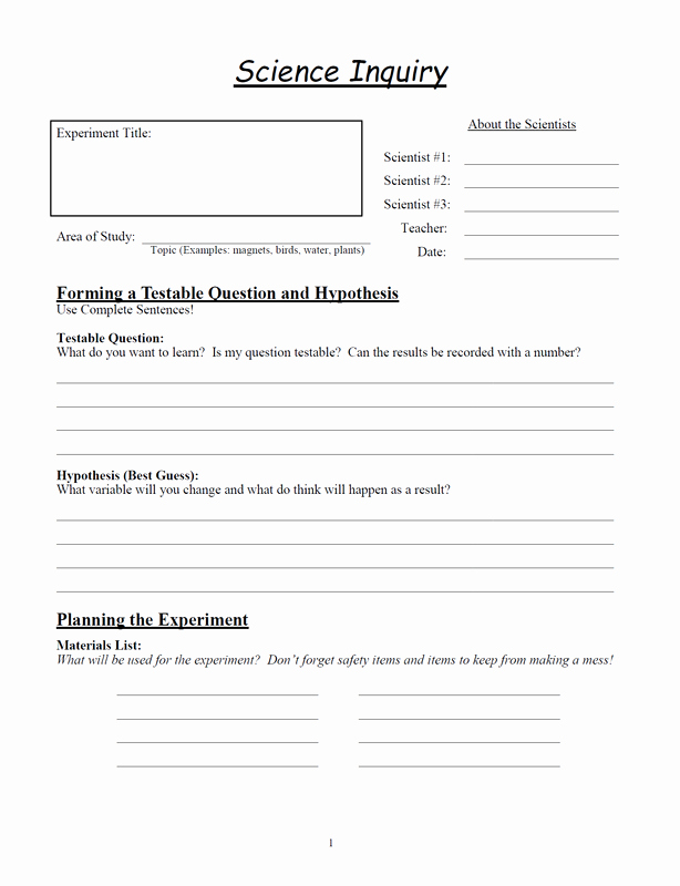 Scientific Method Worksheet 5th Grade Unique Science Inquiry Worksheets Glen S Gizmos