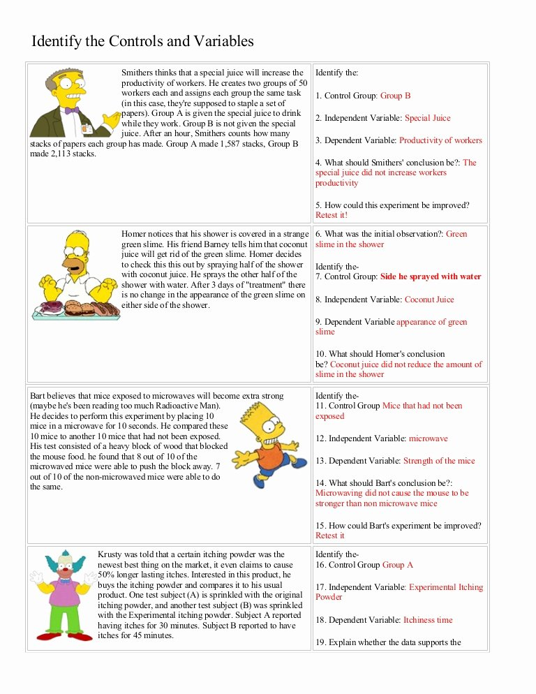 Scientific Method Worksheet Answer Key Best Of Bart Simpson Controls and Variables with Answers